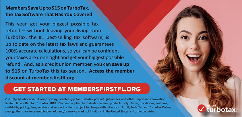 Members Save Up to $15 on TurboTax.  Get started at membersfirstfl.org
