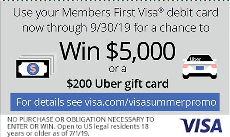 Use your Members First Visa debit card now through September 30th for a chance to win $5,000 or a $200 Uber gift card.  For details see visa.com/visasummerpromo.