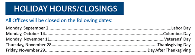 Holiday Hours/Closings.  For more information call us at 850-434-2211.