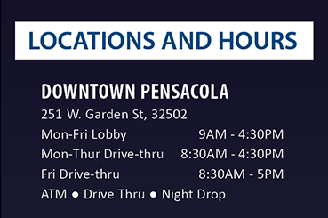 Locations and Hours.  See details at membersfirstfl.org
