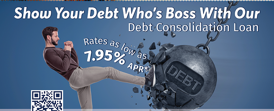 Show Your Debt Who's Boss With A Debt Consolidation Loan.  Apply at membersfirstfl.org, call 850-434-2211, or stop by one of our branch locations.
