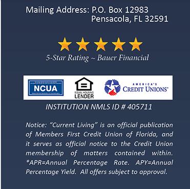 Mailing Address: P.O. Box 12983 Pensacola, FL 32591.  NCUA, Equal Housing Lender, America's CU's logos.