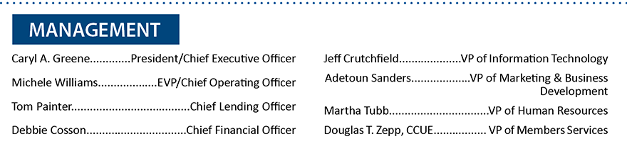 List of Members First Management Team Members.  For more information, call 850-434-2211.