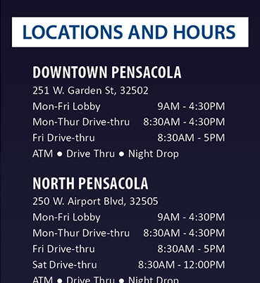 Locations and Hours. For details go to membersfirstfl.org or call 850-434-2211.