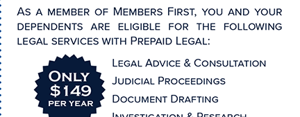 Prepaid Legal Services are available to our members through Staples, Ellis & Associates.  Only $149 Per Year.  Contact Staples, Ellis & Associates for details at staplesellislaw.com.