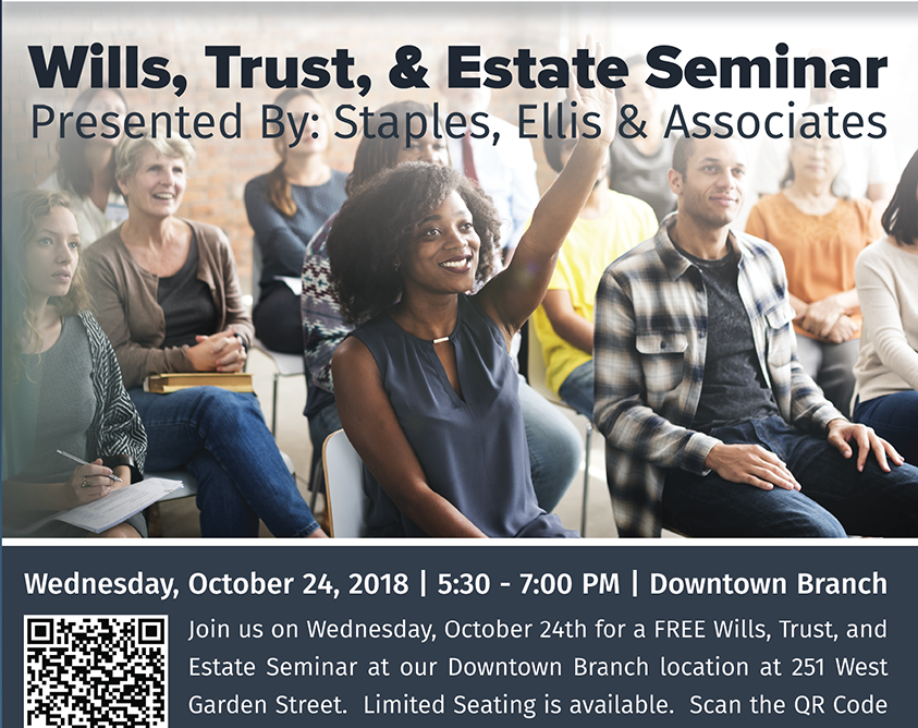 Wills, Trust, & Estate Seminar.  For more details go to membersfirstfl.org or call 850-434-2211.