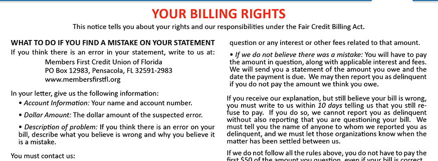 Your Billing Rights.  For more information call 850-434-2211.