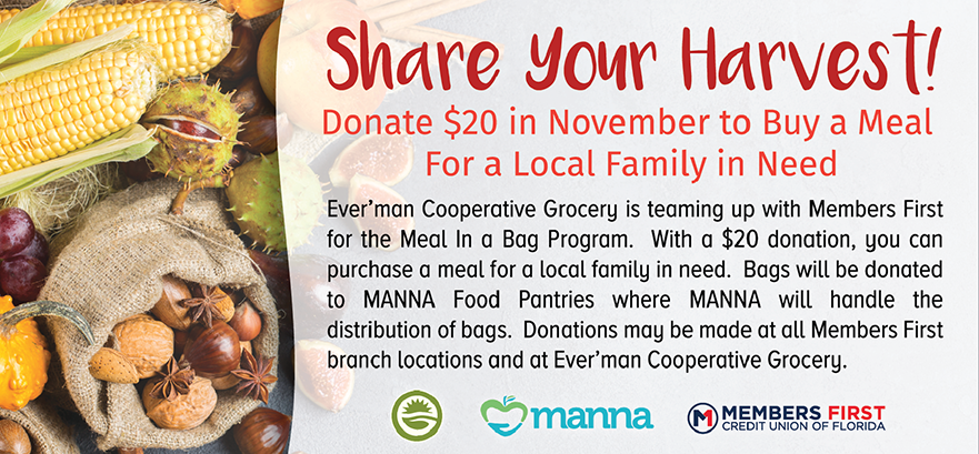 Share Your Harvest.  Donate $20 in November to Buy a Meal for a Local Family in Need.